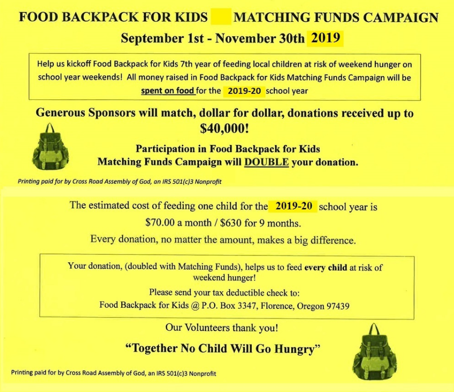 FOOD BACKPACK for KIDS -- Matching Funds Campaign