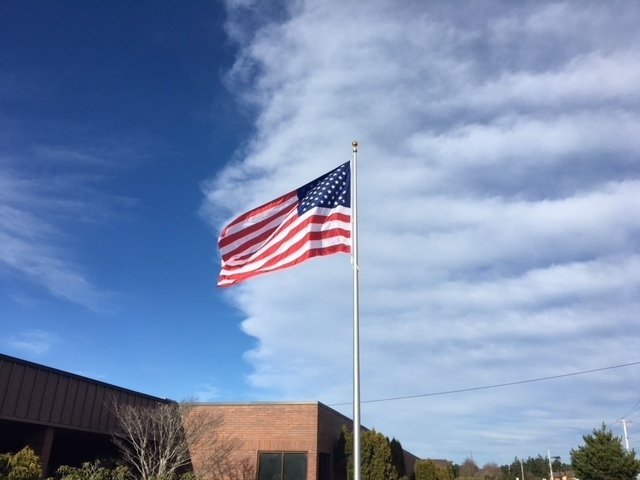 Our new flag pole and flag donated by the VFW.